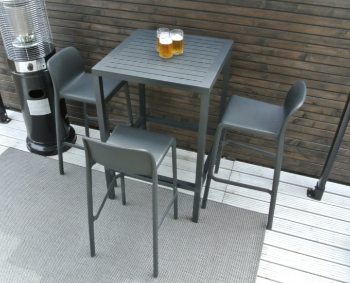 Barová sada CUBE 4 barové židle FARO: durel bílá