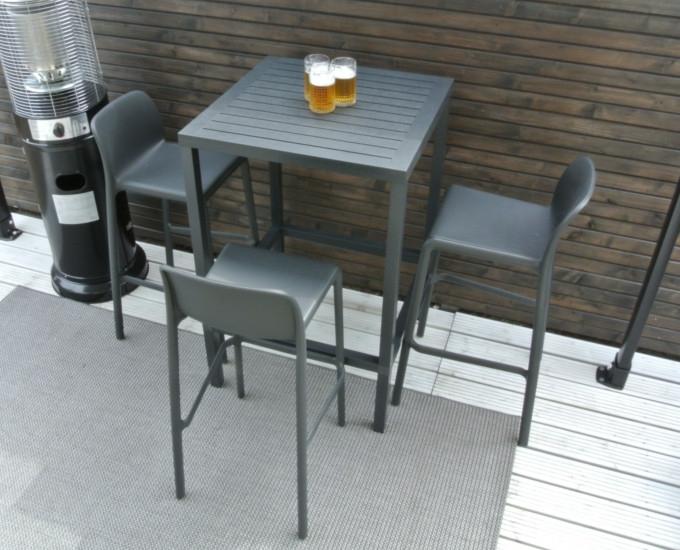 Barová sada CUBE 4 barové židle FARO: durel hnědá