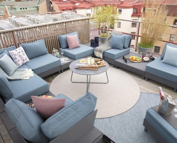 Kulatý koberec na terasu SALEMA: SALEMA modrý