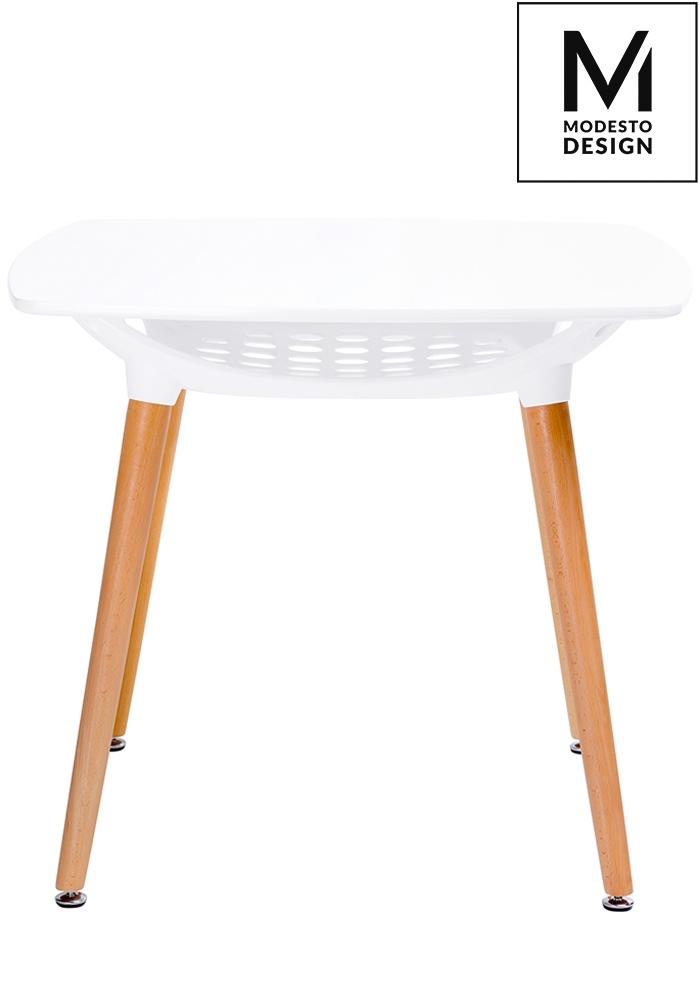 MODESTO stůl HIDE SQUARE bílý - deska MDF, dřevěná základna