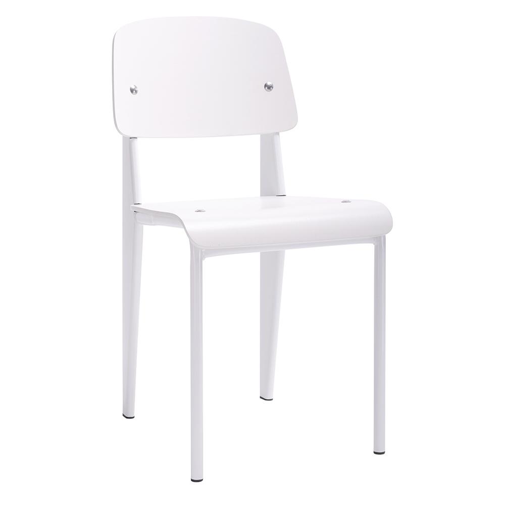 Židle SCHOOL bílá - bukové dřevo, kov