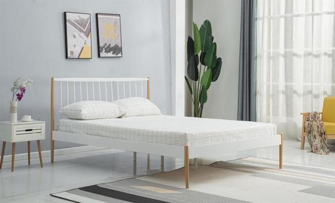 LEMI 120 cm postel kovová bílá / přírodní