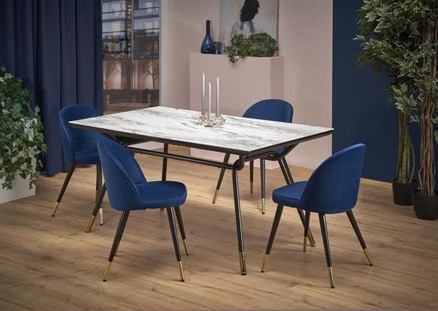 GLAMOUR stůl deska - mramor, nohy - černé / zlaté