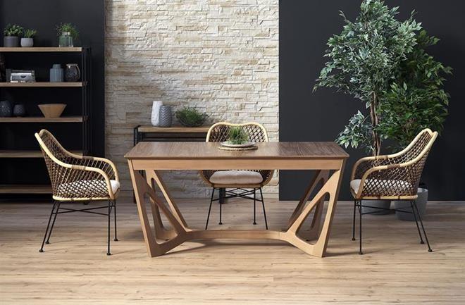 WENANTY stůl rozkládací deska - ořech americký, nohy - ořech americký