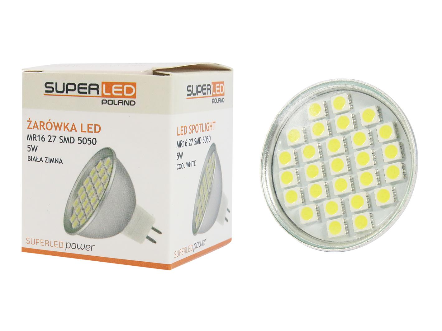 Žárovka LED MR16 SMD 5050 5W studená bílá