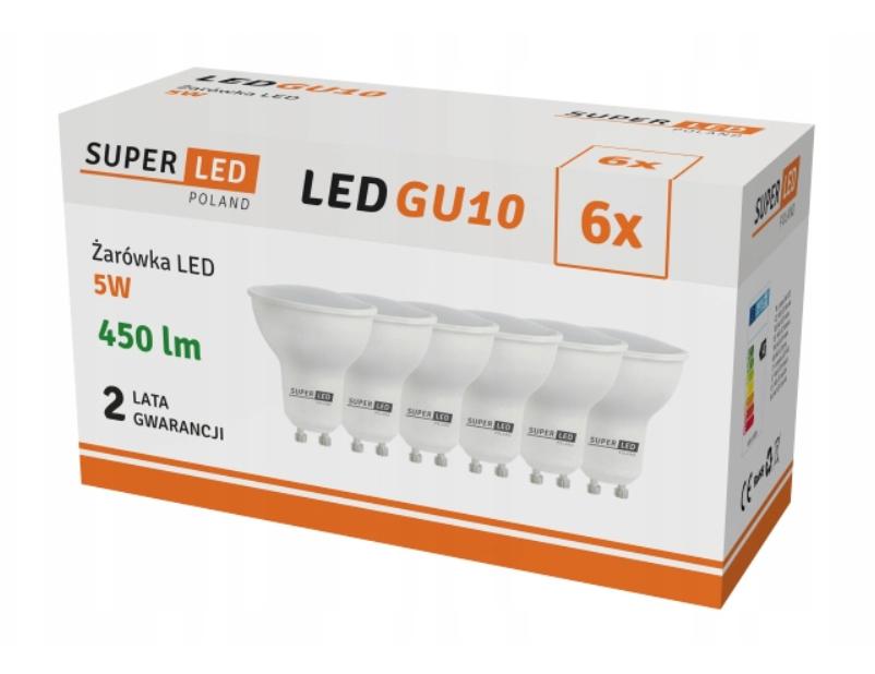 6x Žárovka LED GU10 5W bílá studená