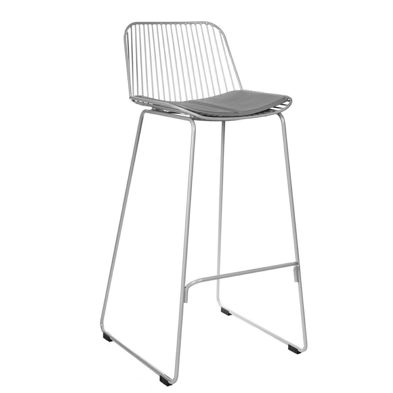 Židle barová DILL HIGH šedá s šedým polštářem
