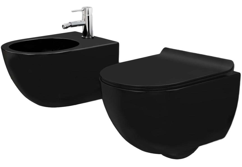 Sada mísa WC CARLO MINI černý mat + bidet