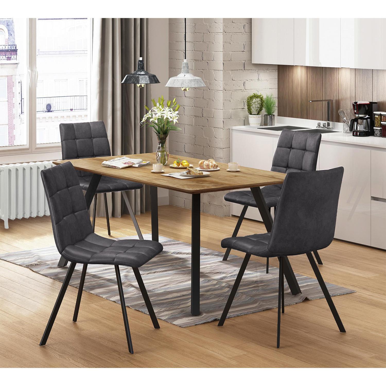 Jídelní stůl BERGEN dub + 4 židle BERGEN šedé mikrovlákno