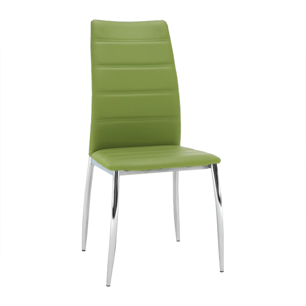 Jídelní židle, ekokůže zelená / chrom, DELA