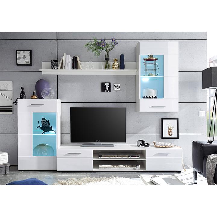 Obývací stěna, bílá extra vysoký lesk high gloss/bílá, HENRI NEW
