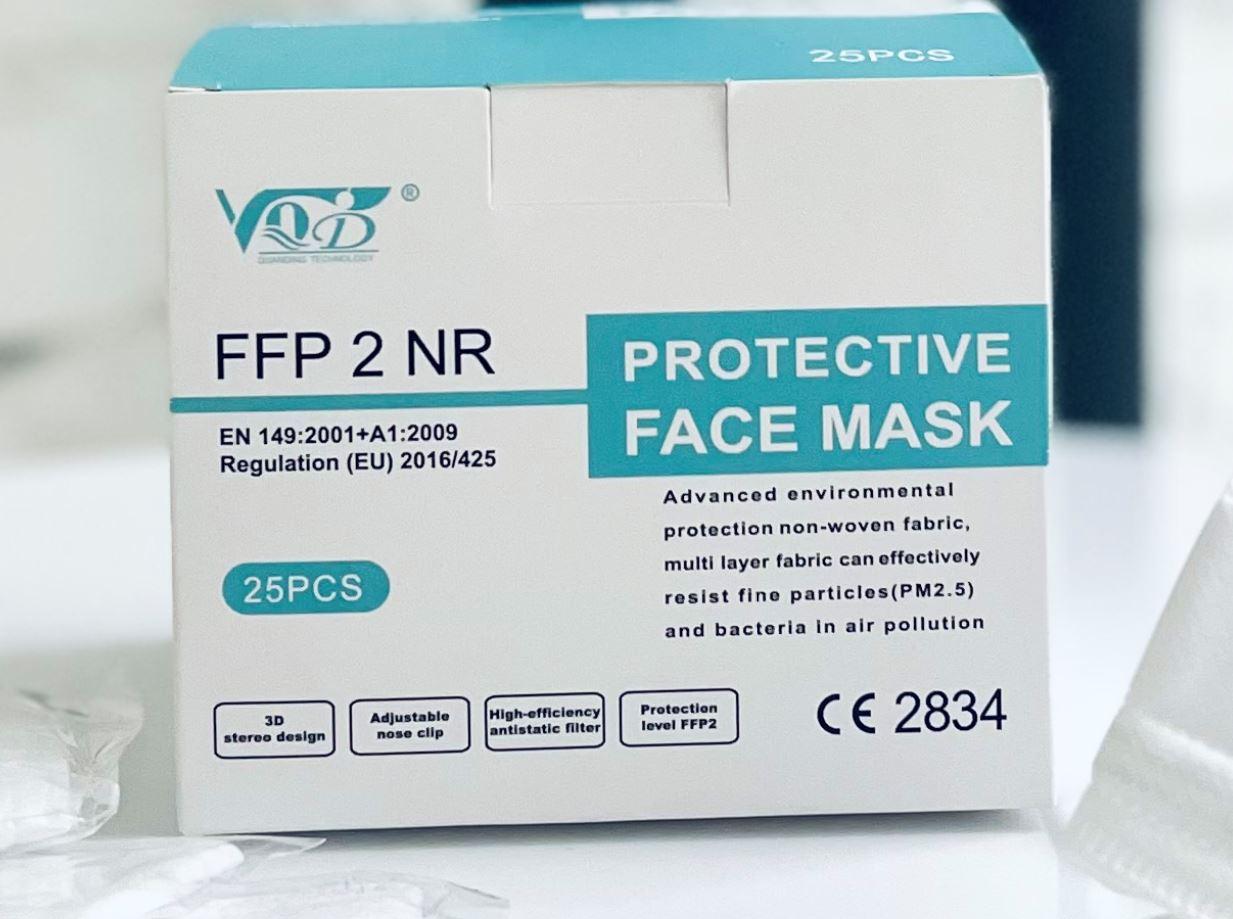 VQD - 5ti vrstvý dýchací respirátor třídy FFP2 s 98% filtrace CE, SGS a EN certif. 25ks