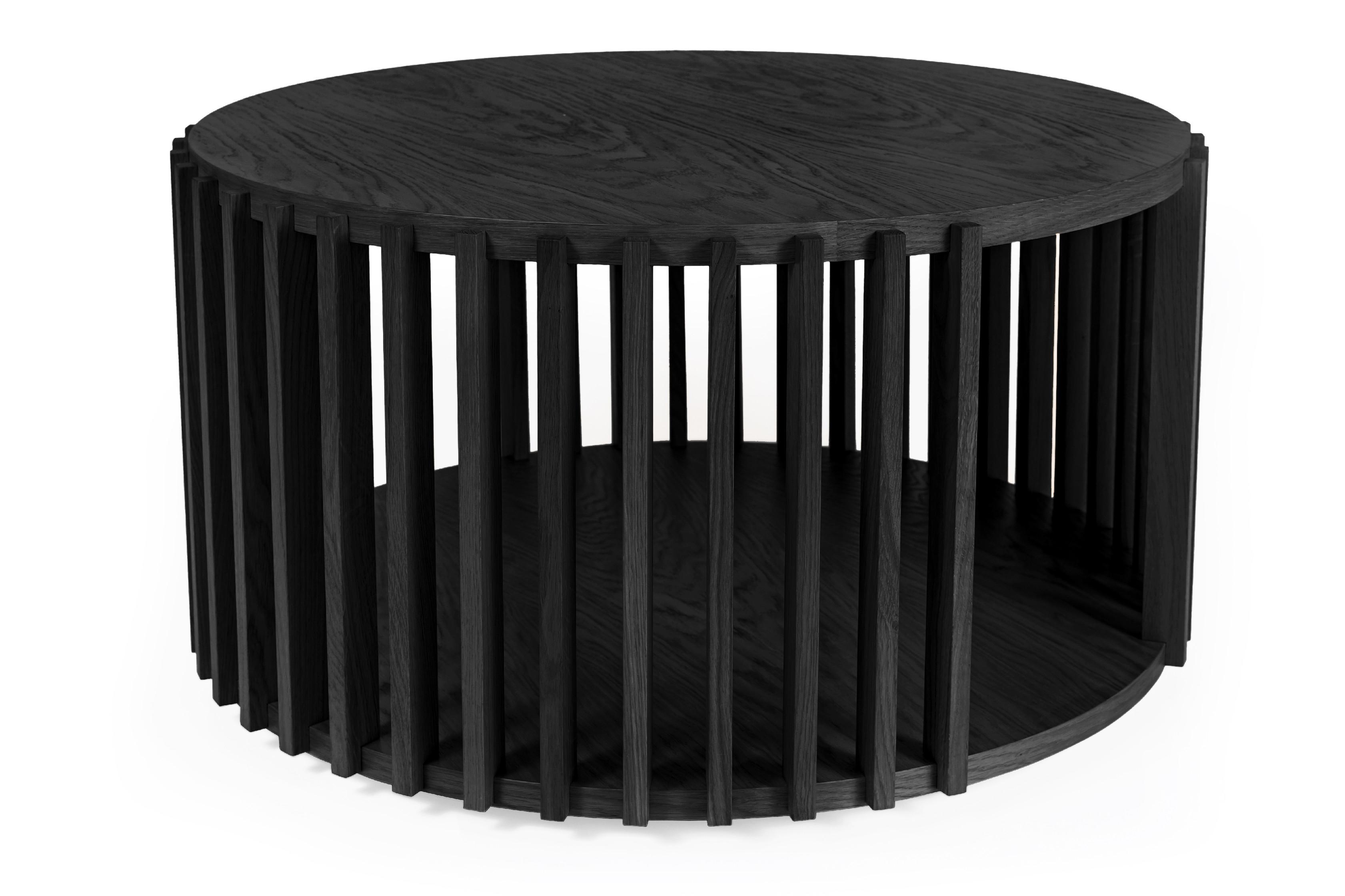 Drum kávový stolek dub/černý