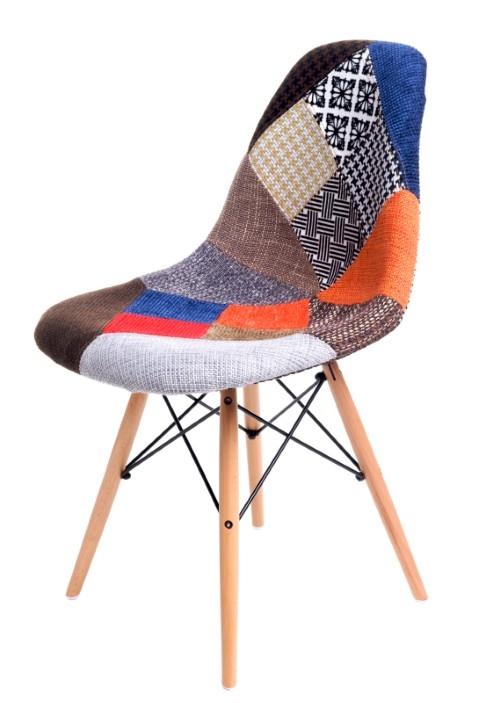 Židle P016V patchwork, dřevěné nohy
