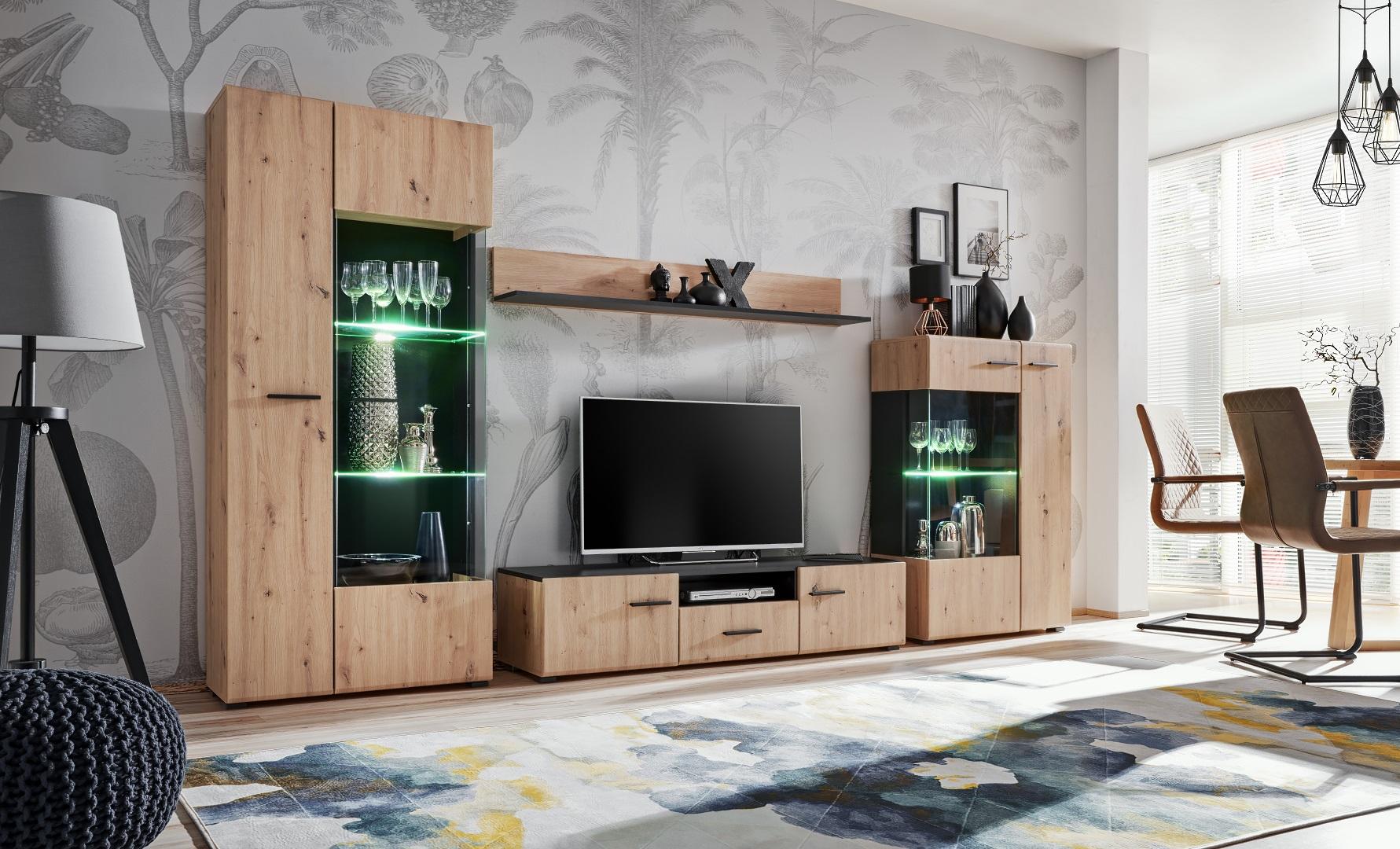 Solido nábytková stěna dub Artisan/černá mat