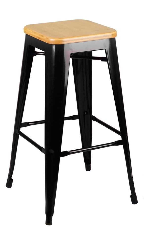 Barová židle TOWER WOOD 75 cm černá jasan/kov