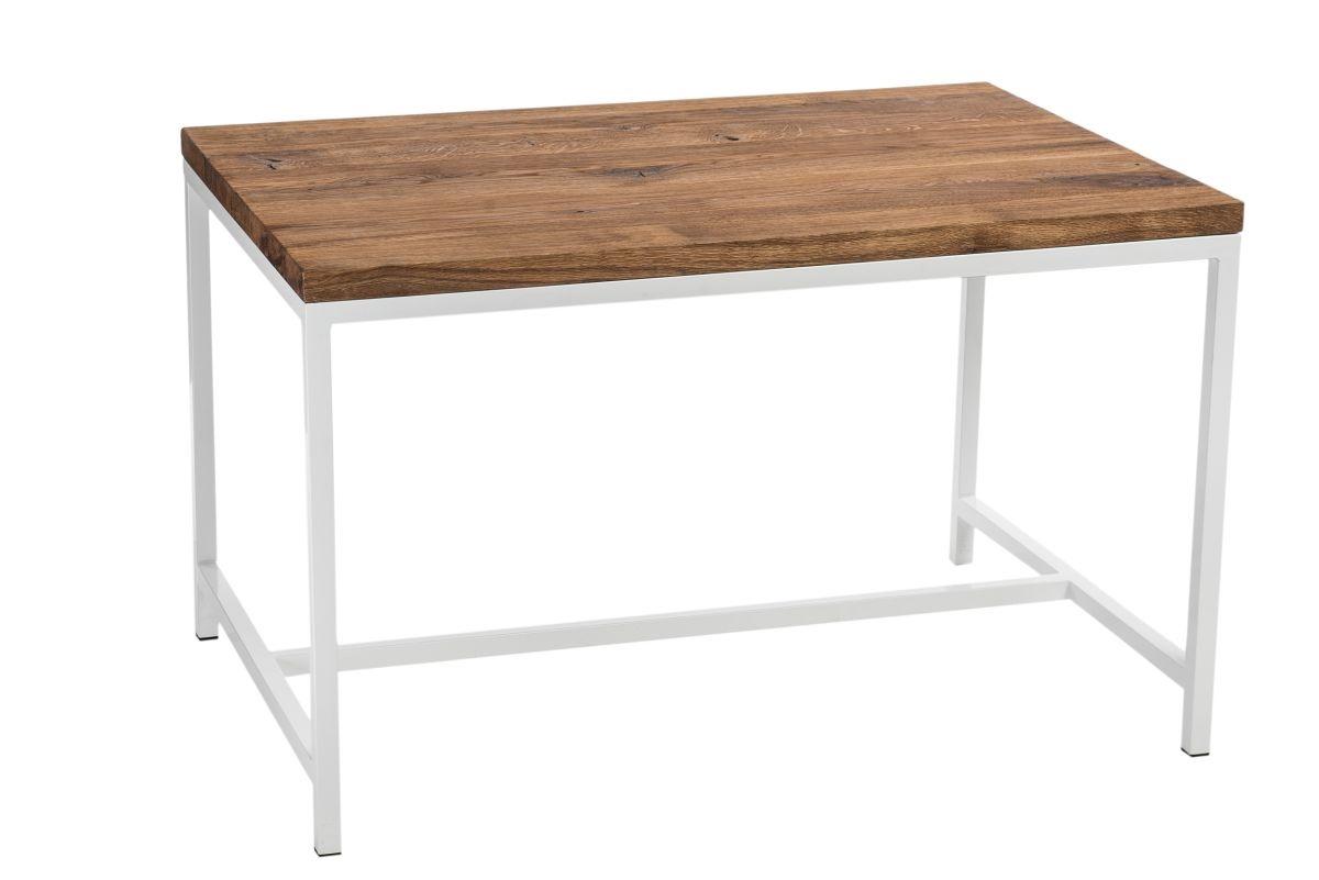 Stůl COHEN 120x80 bílý profil 30mm deska neolejovaný dub kartáčovaný