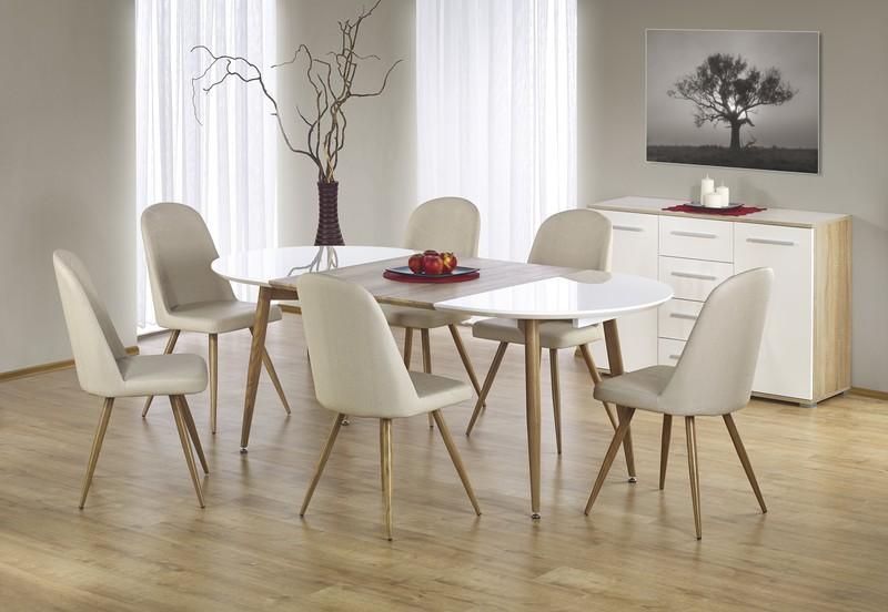 EDWARD stůl rozkládací dub velbloudí / bílý; nohy: dub velbloudí