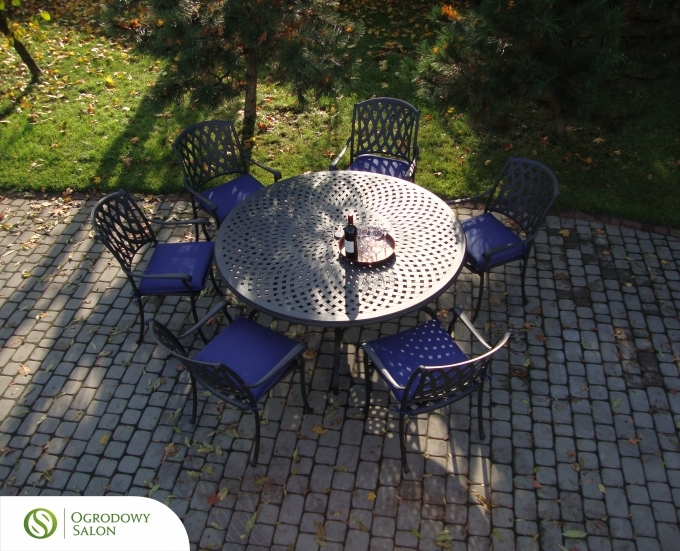 Hliníkový zahradní kulatý stůl SAN FRANCISCO: kamenný hliník