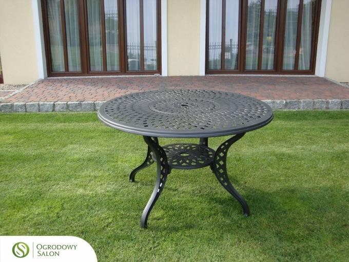 Hliníkový zahradní kulatý stůl SANTA MONICA: kamenný hliník