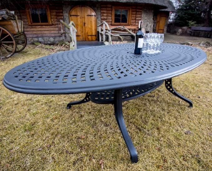Hliníkový zahradní oválný stůl BEVERLY HILLS: kamenný hliník