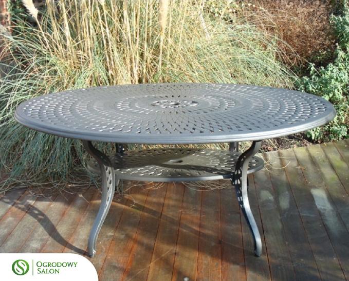Hliníkový zahradní oválný stůl SACRAMENTO: kamenný hliník