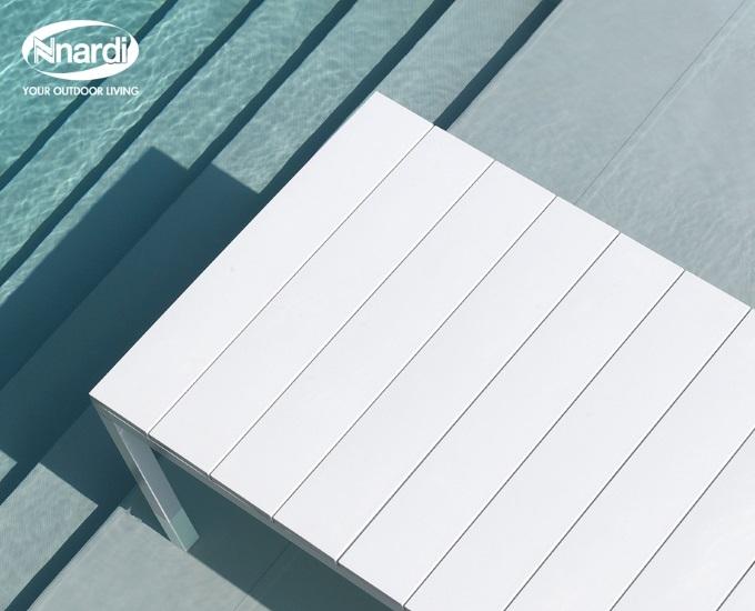 Rozkládací stůl NARDI 210-280 RIO: bílý rám, bílá deska