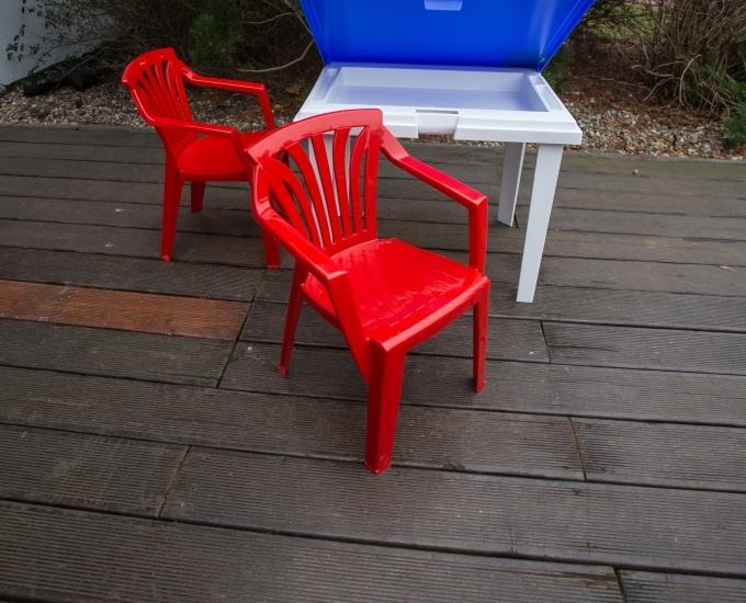Zahradní nábytek pro děti židle ARIEL: červený polypropylén