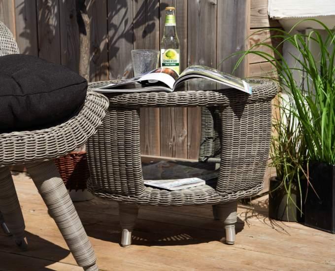 Kávový kulatý stolek technoratan BELFORT: béžový