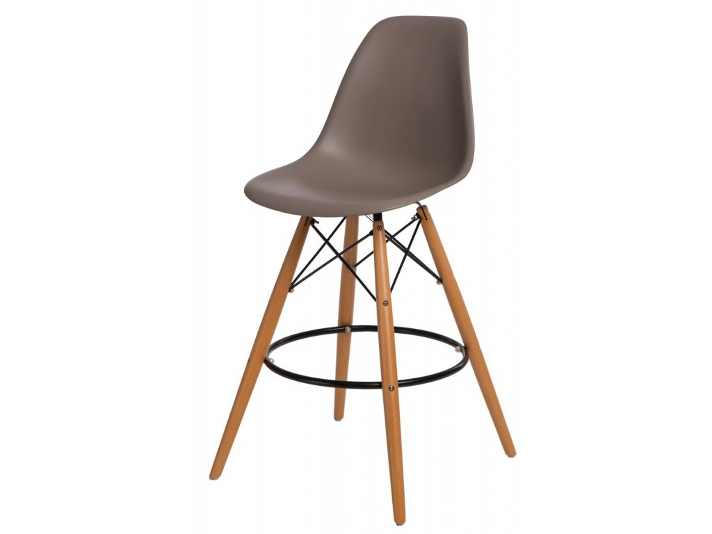 Barová stolička P016V PP stredne sivá