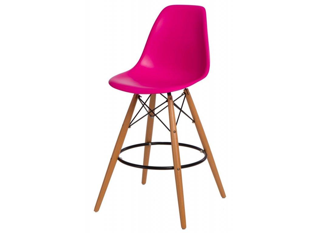 Barová stolička P016V PP tmavo ružová