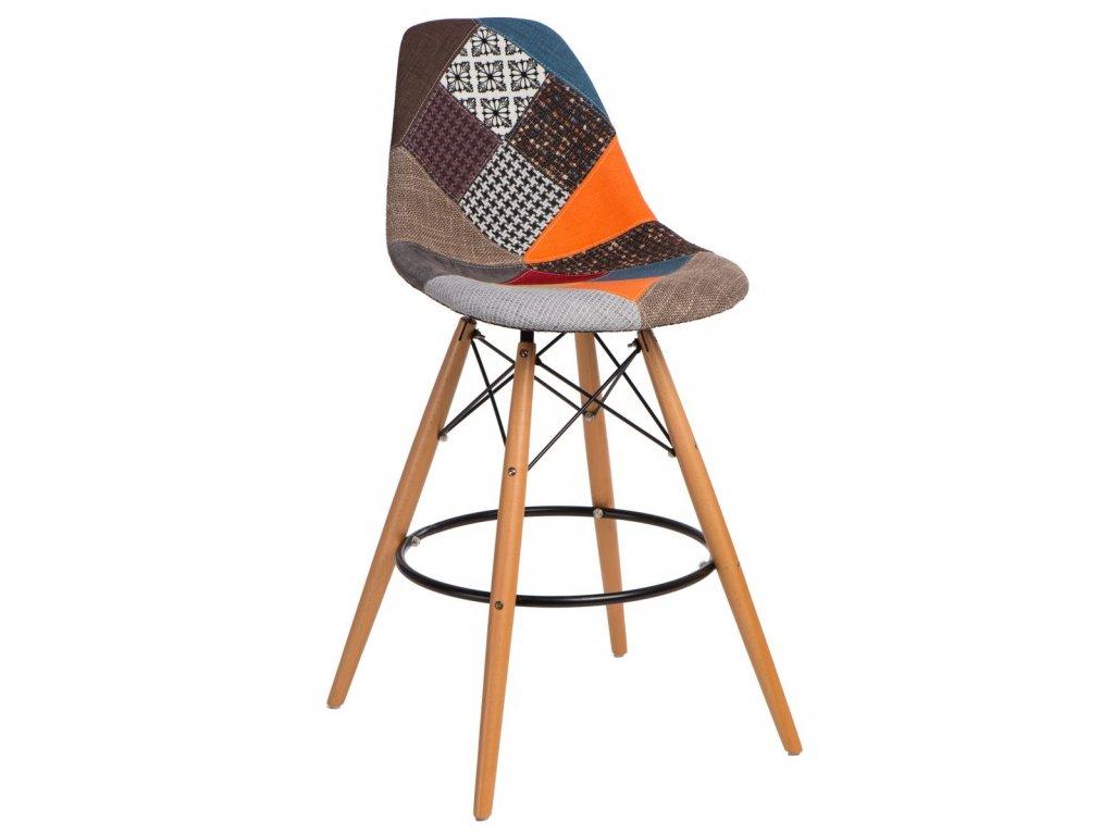 Barová stolička P016V Patchwork farebná