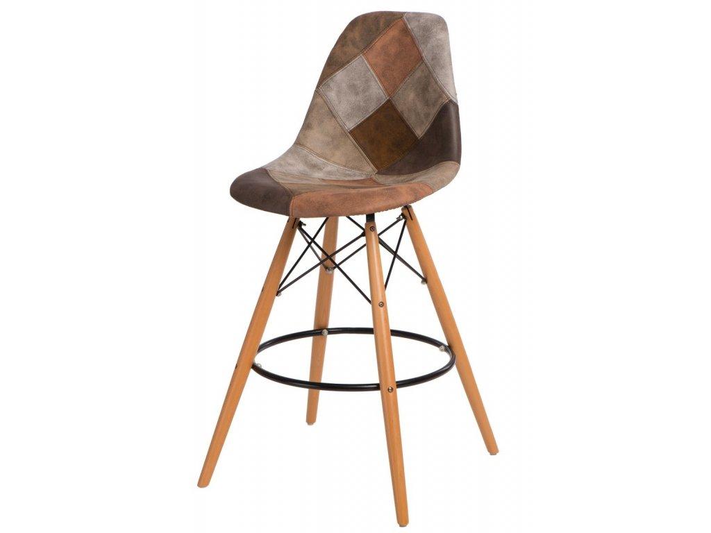 Barová stolička P016V Patchwork hnedá
