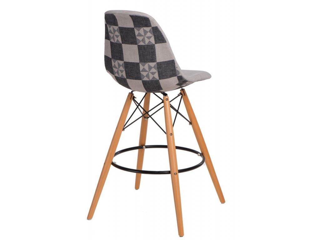 Barová stolička P016V Pattern sivá patchwork