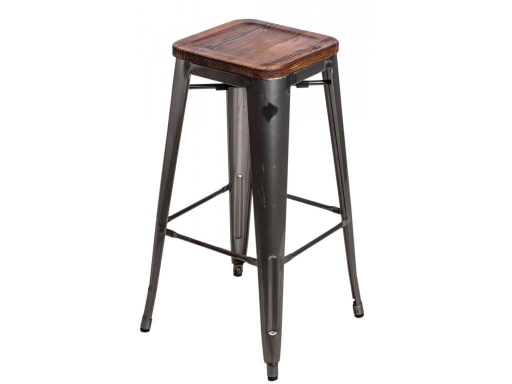 Barová stolička Paris Wood 75cm metalická sosna