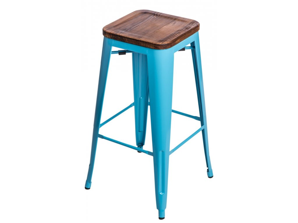 Barová stolička Paris Wood 75cm modrá sosna