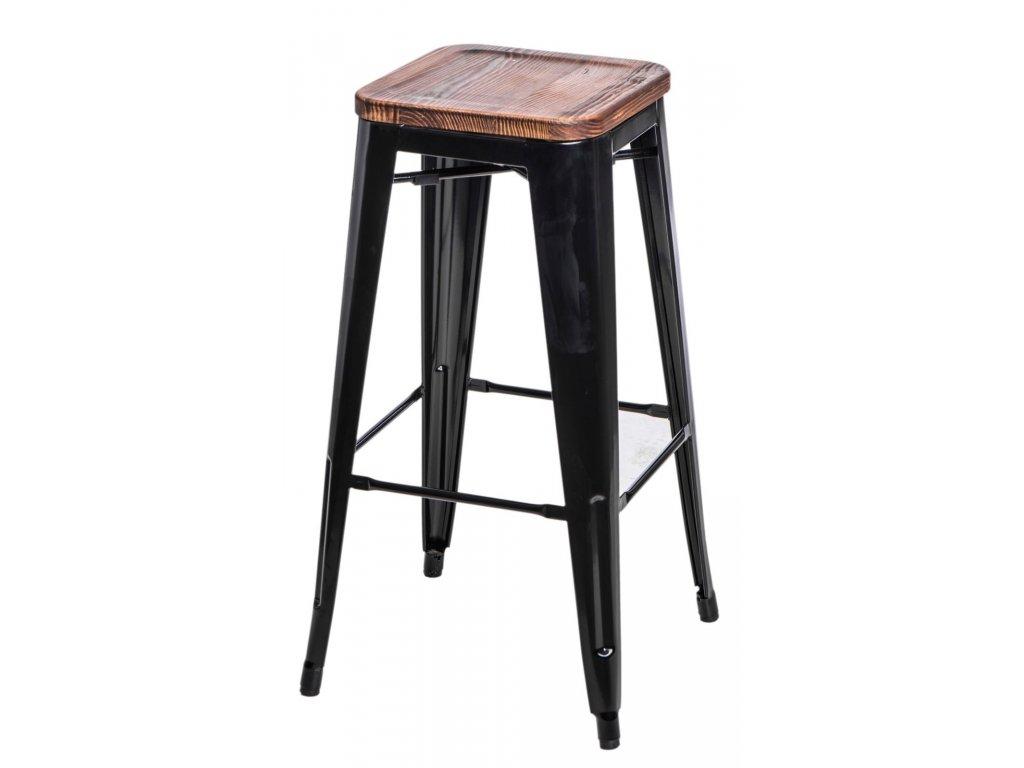 Barová stolička Paris Wood 75cm čierna sosna