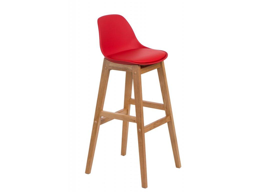 Barová stolička Norden wood, červené sedátko