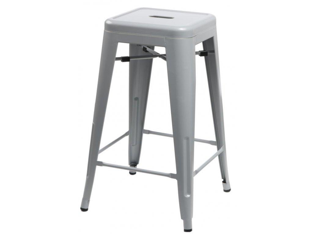Barová stolička Paris 66cm šedá inšpirovaná Tolix