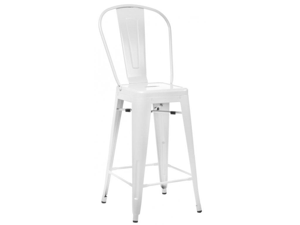 Barová stolička Paris Back biela inšpirovaná Tolix