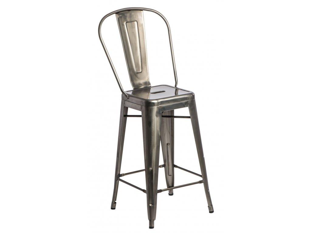 Barová stolička Paris Back kovová inšpirovaná Tolix