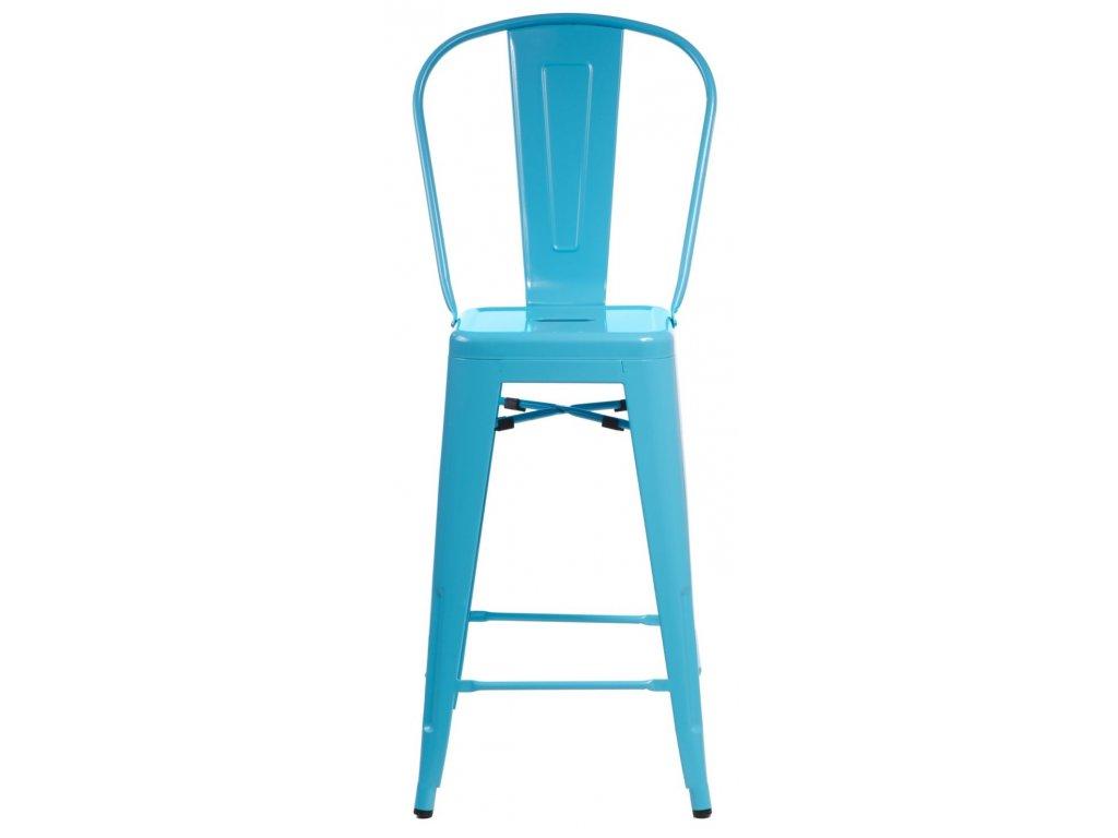 Barová stolička Paris Back modrá inšpirovaná Tolix