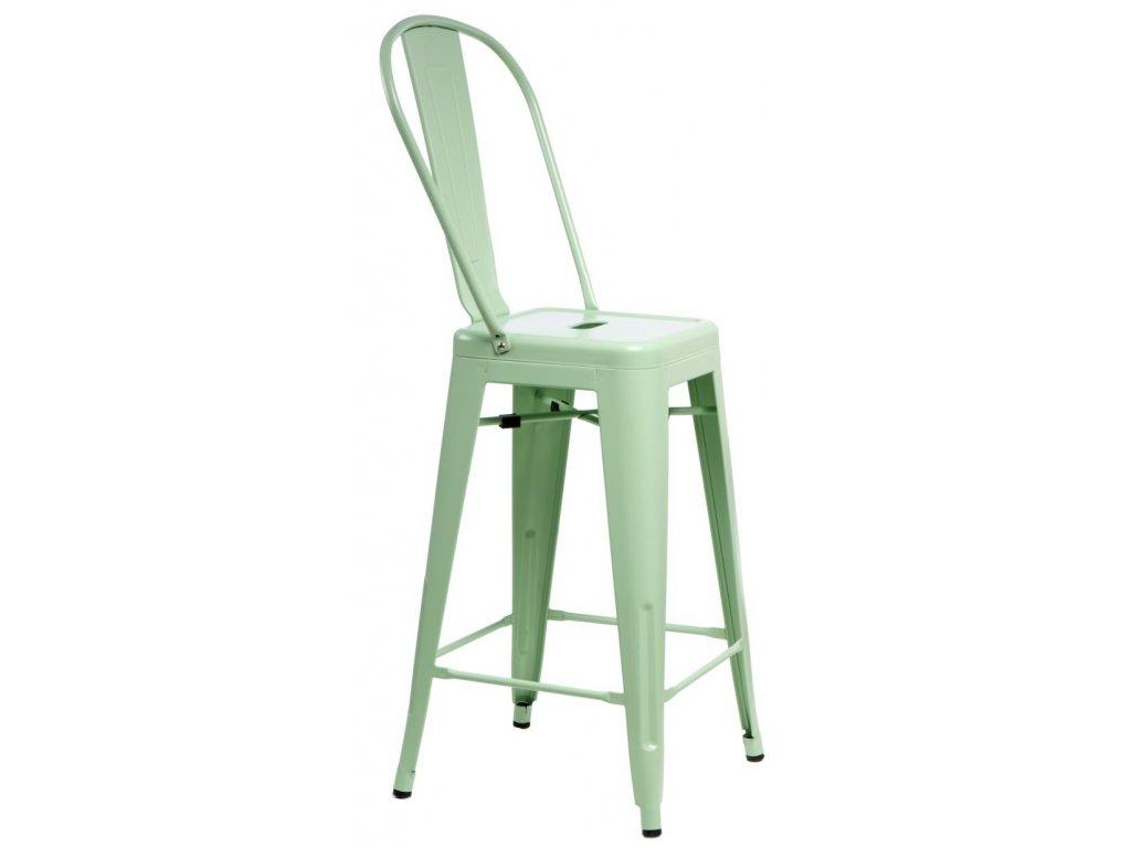 Barová stolička Paris Back zelená inšpirovaná Tolix