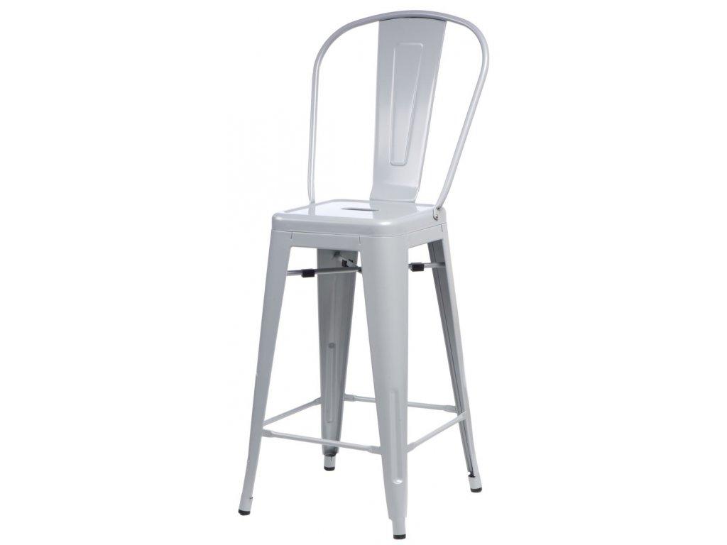 Barová stolička Paris Back šedá inšpirovaná Tolix