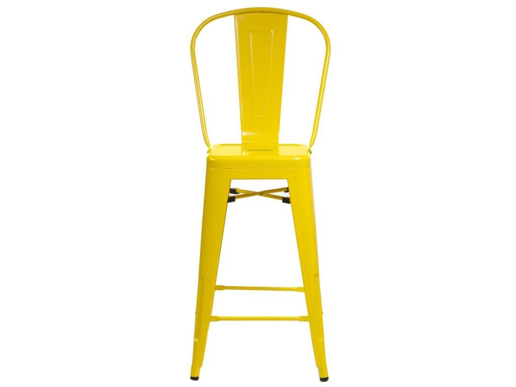 Barová stolička Paris Back žltá inšpirovaná Tolix