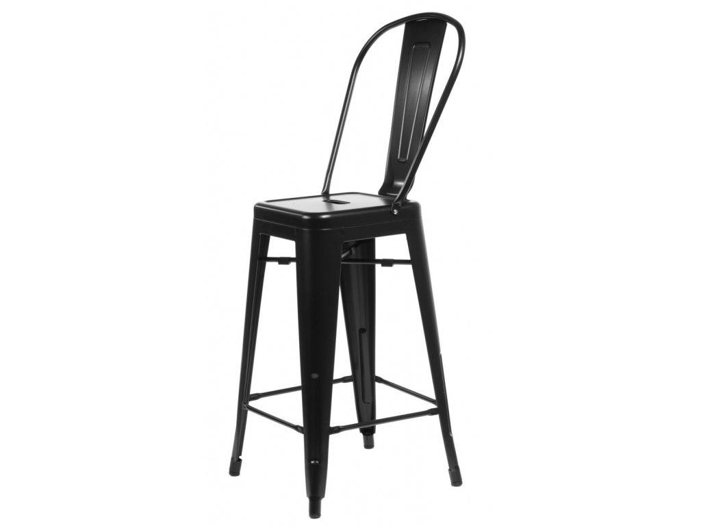 Barová stolička Paris Back čierna inšpirovaná Tolix
