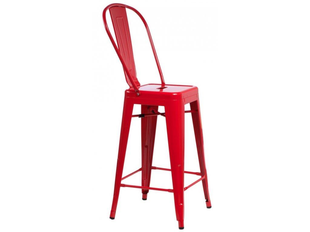 Barová stolička Paris Back červená inšpirovaná Tolix