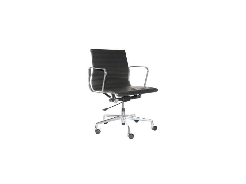 Kancelárske kreslo CH1171T čierna koža, chróm