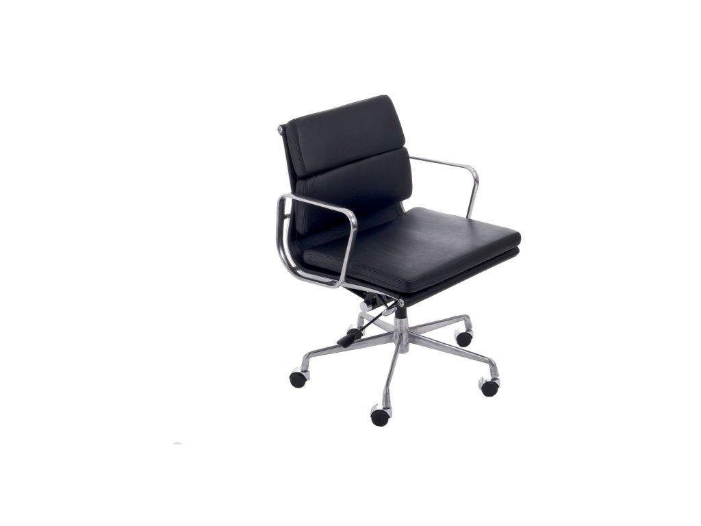 Kancelárske kreslo CH2171T čierna koža chróm