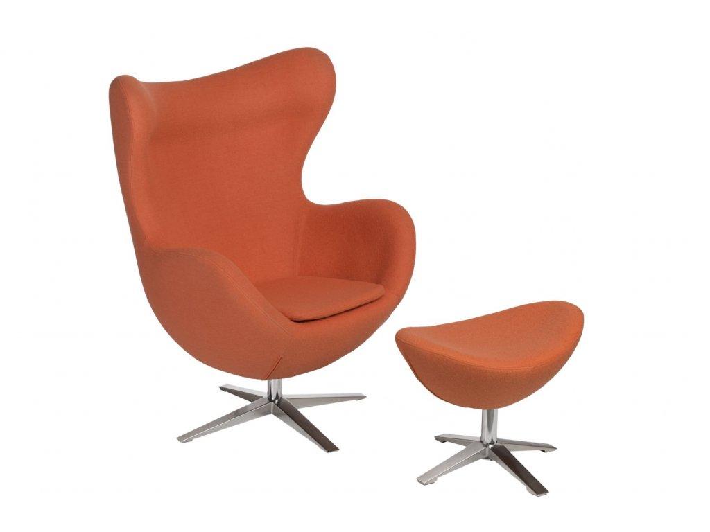 Kreslo EGG široké s podnožkou vlna JA-2717 oranžové